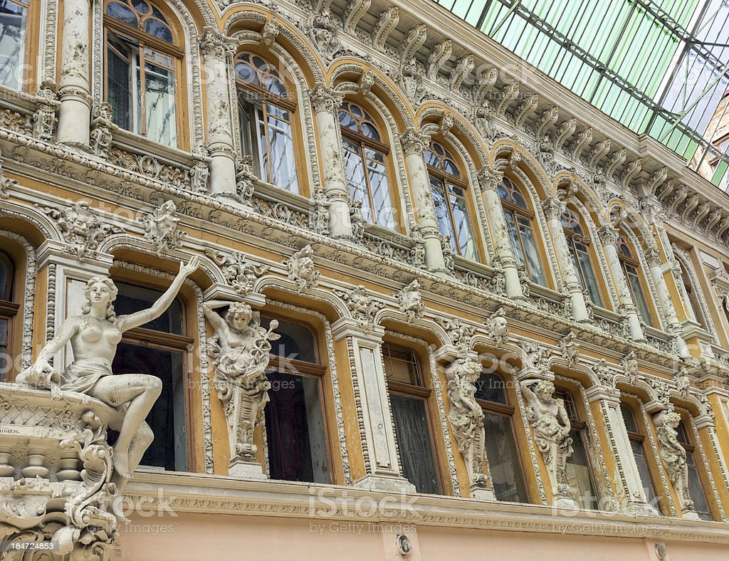 sculptures on the balcony of Odessa royalty-free stock photo