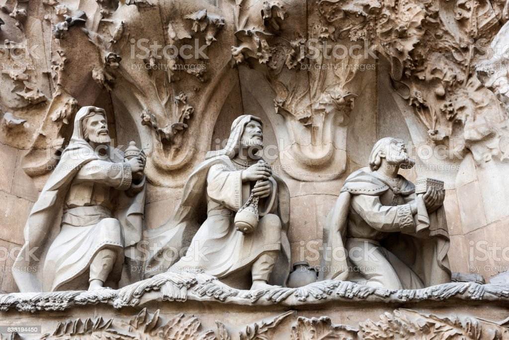 Sculptures on the exterior wall of the Sagrada Familia in Barcelona stock photo