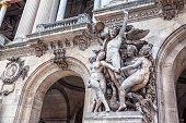 Sculptures on the facade of the Opera Garnier in Paris