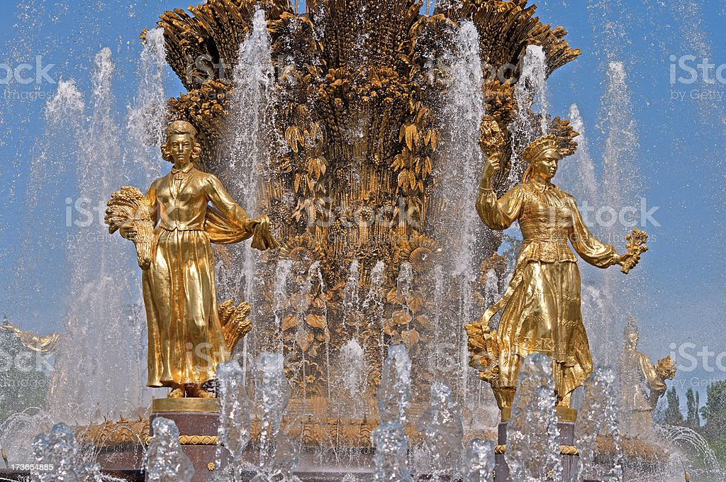 sculptures on the fountain stock photo