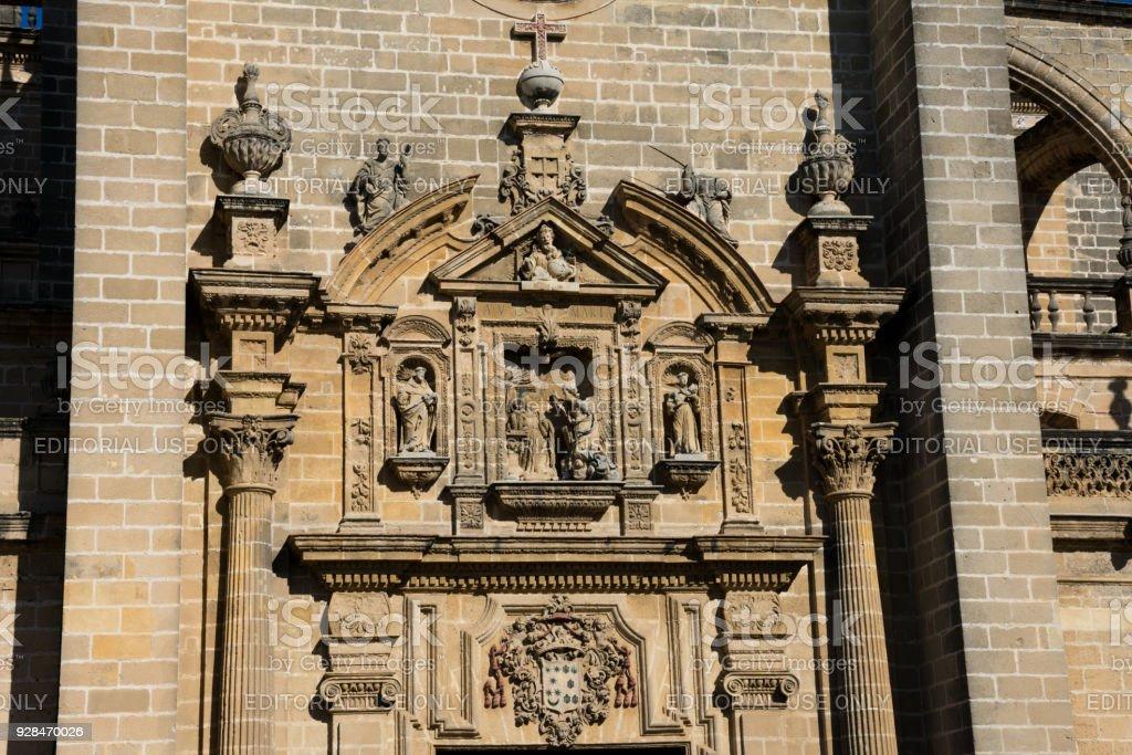 Sculptures over Jerez de la Frontera Cathedral (Catedral de Jerez de la Frontera) stock photo