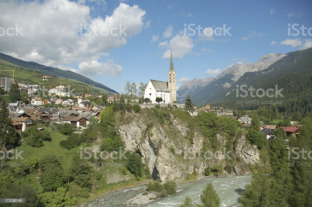 Scuol Church above the Inn River royalty-free stock photo