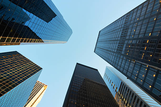 Scyscrapers in New York Skyscrapers in the downtown district of New York view from below directly below stock pictures, royalty-free photos & images