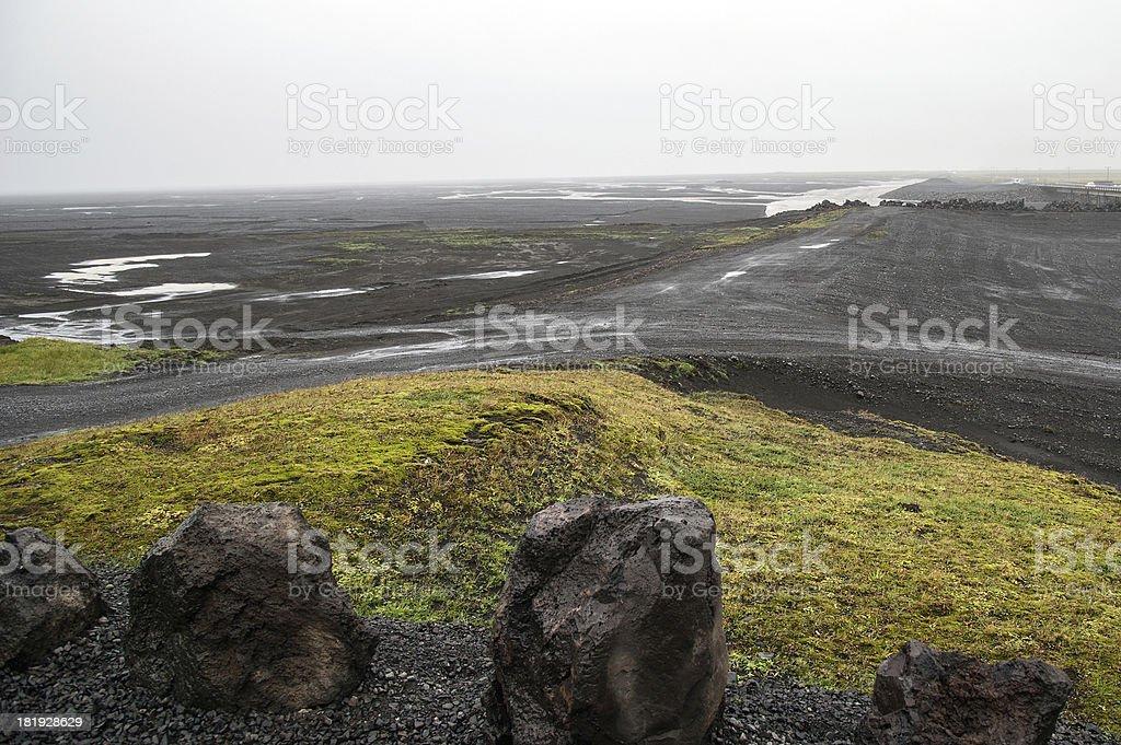 Süd-Island - Parkplatz am Wasserfall Skogafoss stock photo