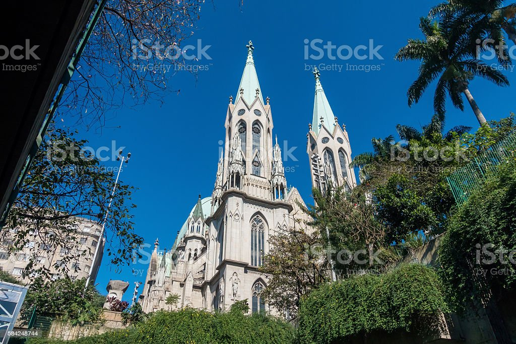 Se Cathedral in downtown Sao Paulo in Brazil stock photo