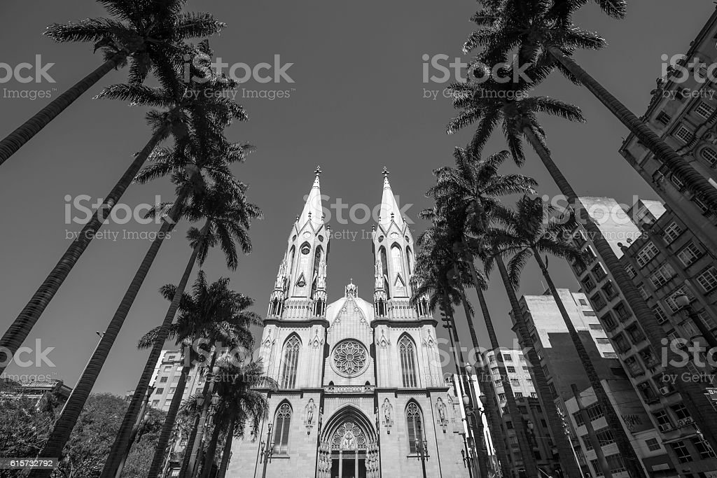 Se Cathedral in downtown Sao Paulo stock photo