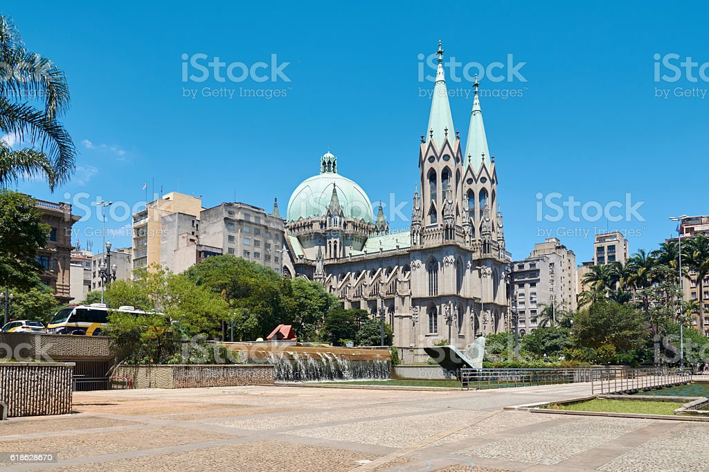 Se Cathedral in Sao Paulo city stock photo