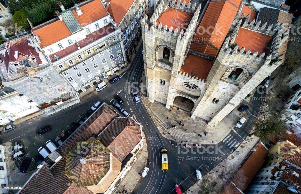 Se de Lisboa or Lisbon Cathedral in Alfama, Portugal stock photo