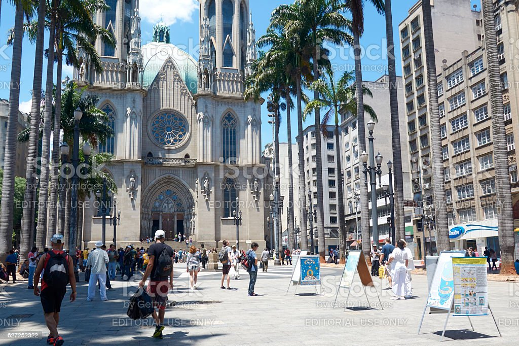 Se Square in front Se Cathedral in Sao Paulo, Brazil stock photo