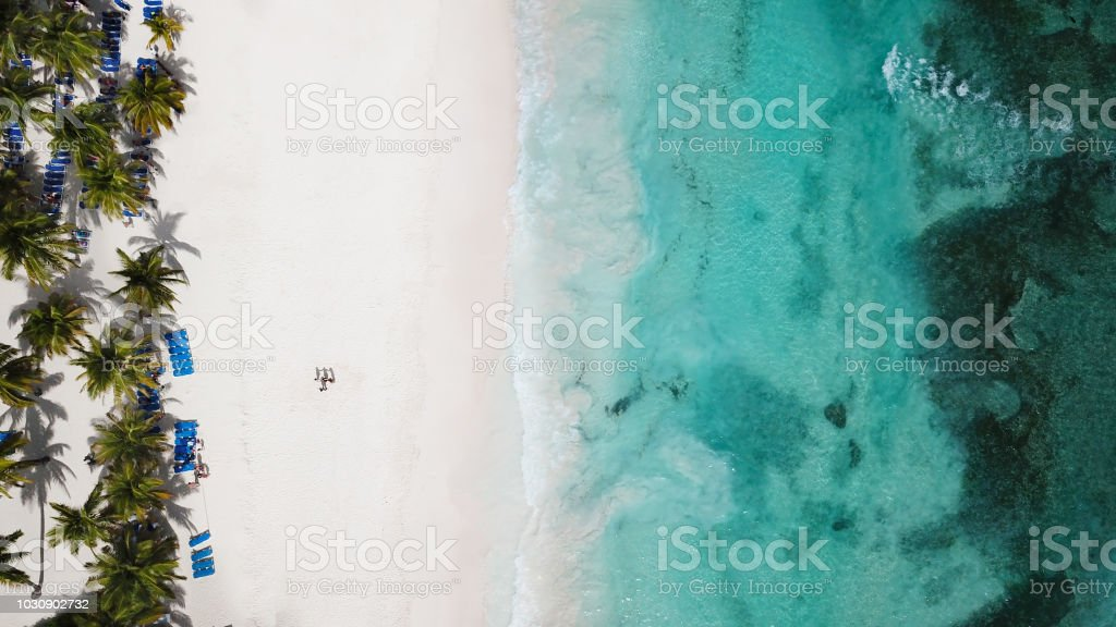 Sea Aerial view. Amazing nature background. The color of the water and beautifully bright. Aerial view of tropical island beach. stock photo