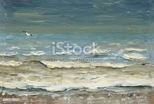 istock Sea after storm foaming waves and seagulls over the water. 636209660