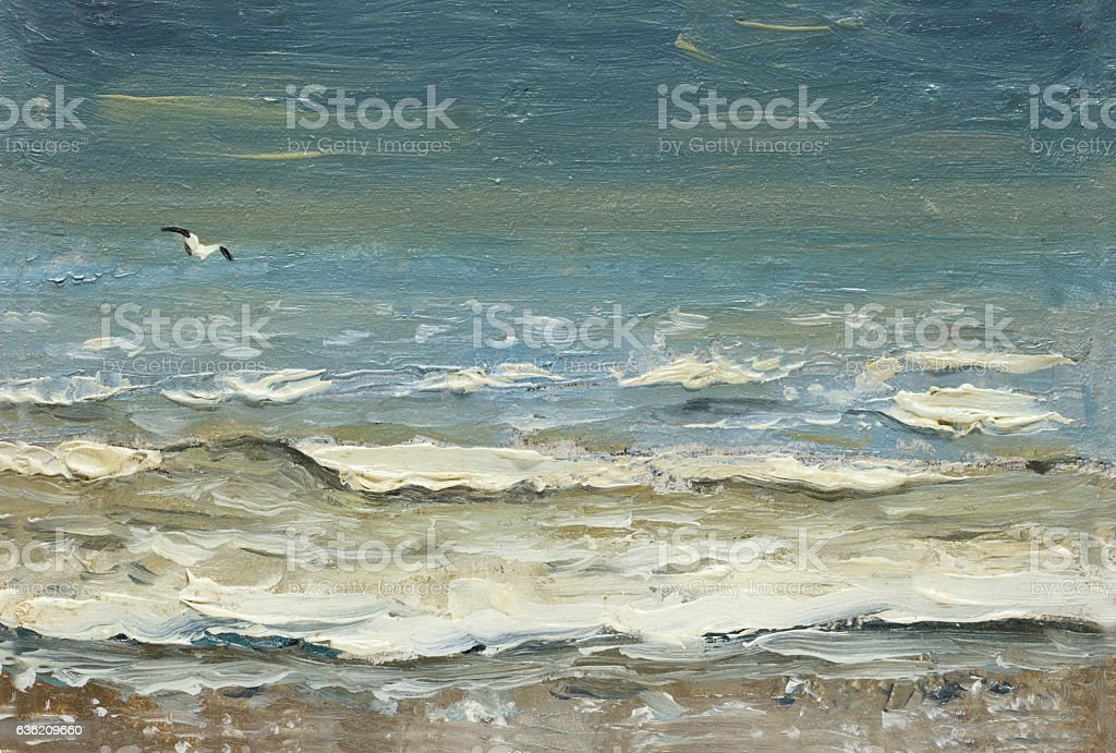 Sea after storm foaming waves and seagulls over the water. stock photo
