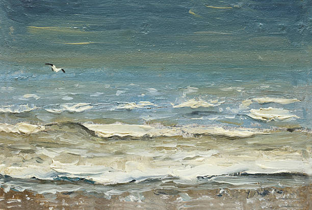sea after storm foaming waves and seagulls over the water. - impressionist painting stock photos and pictures