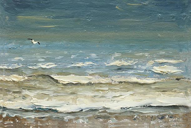 sea after storm foaming waves and seagulls over the water. - yağlı boya resim stok fotoğraflar ve resimler