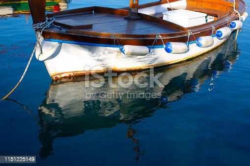 Shot of boat and its reflection in beautiful sea water.