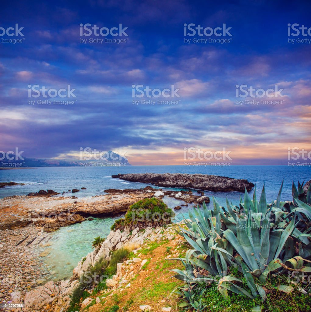 Sea and Cape Milazzo. Italy. stock photo