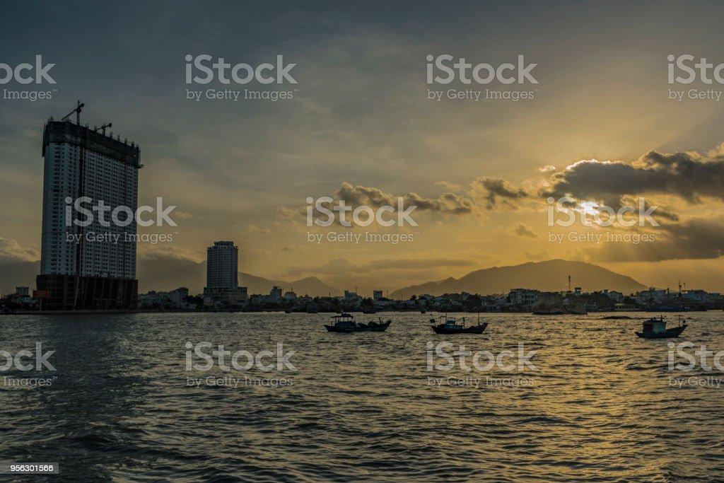 Sea and city of Nha Trang in Vietnam stock photo
