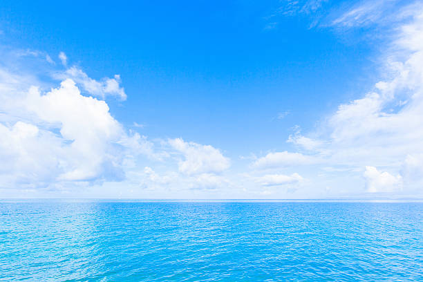 Sea and clouds in Okinawa stock photo