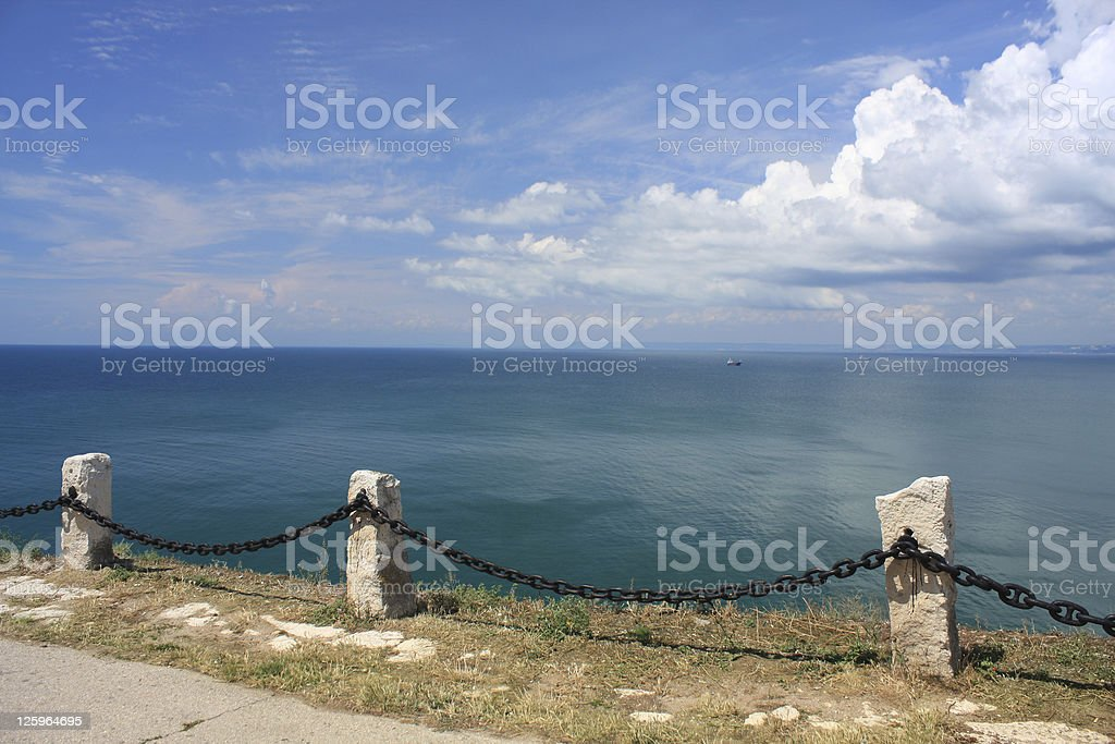 Sea and cloudy deep blue sky royalty-free stock photo