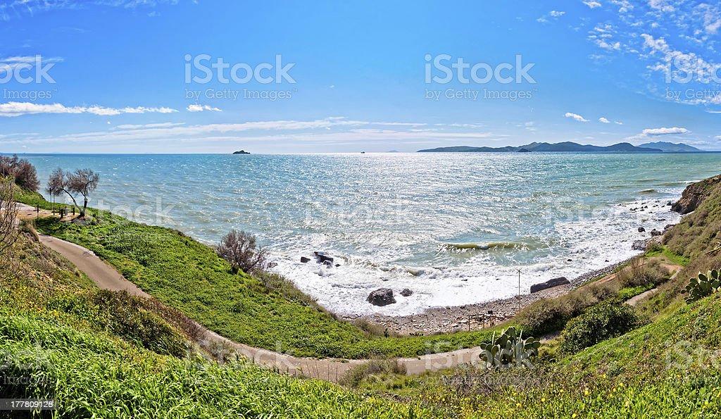 sea and coastline in Piombino, Tuscany royalty-free stock photo
