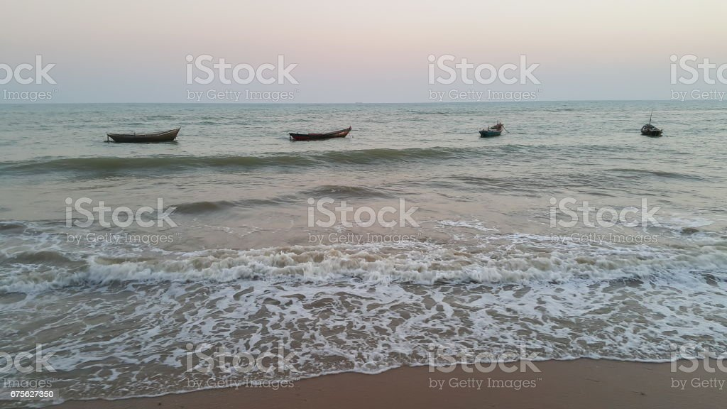 Sea and fishing boat, minimalist royalty-free stock photo