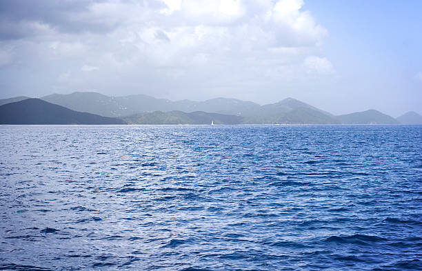 Sea and Hills in The British Virgin Islands stock photo