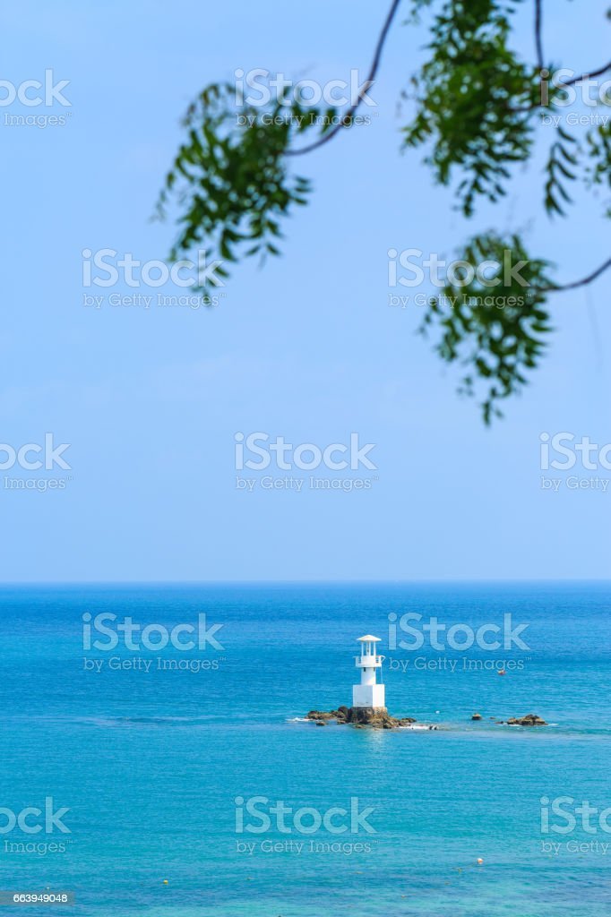 sea and lighthouse at Smaesarn in Thailand stock photo
