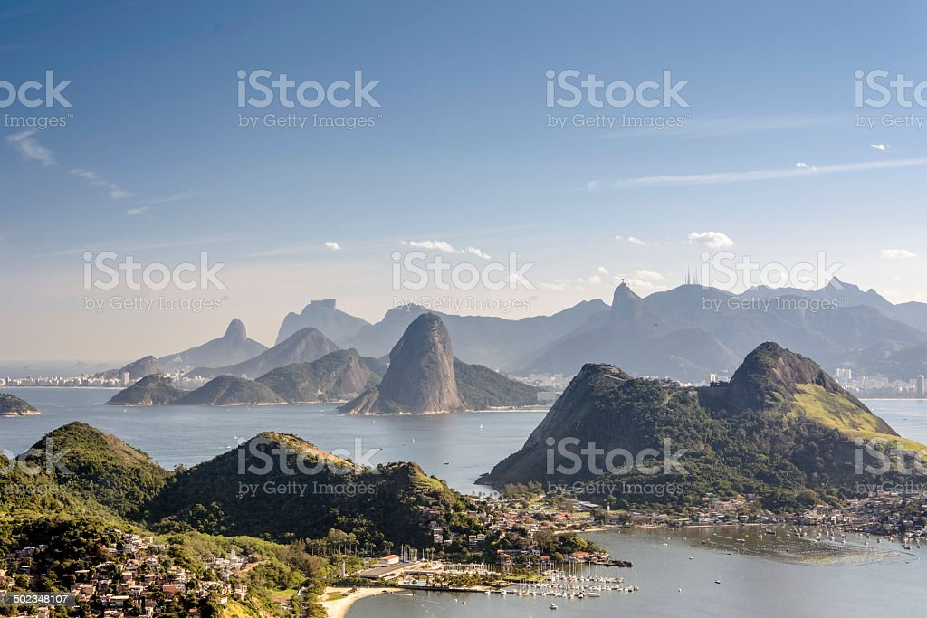 Sea and mountains of Rio de Janeiro stock photo