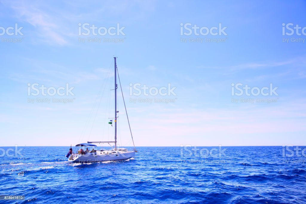 Sea and sail boat stock photo