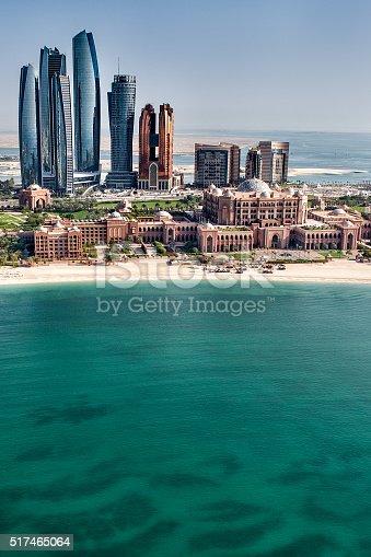 517465184 istock photo Sea and skyscrapers in Abu Dhabi 517465064