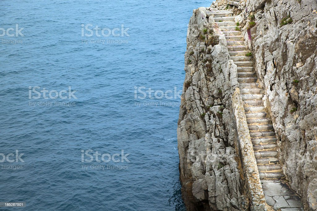 sea and stairs stock photo