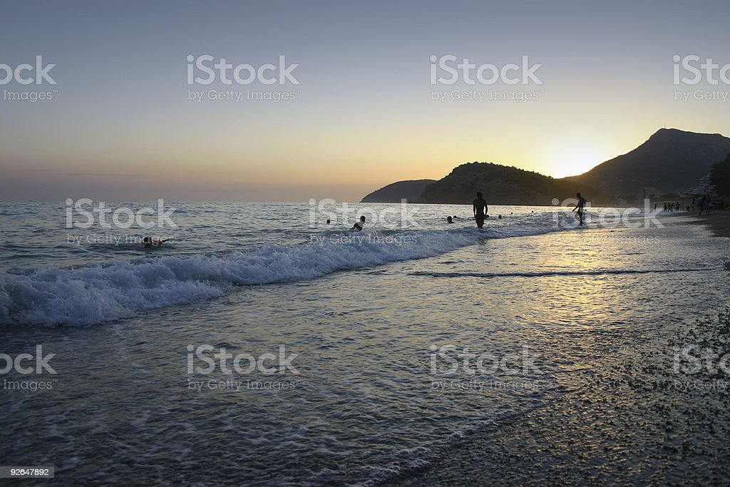 Sea and sunset royalty-free stock photo