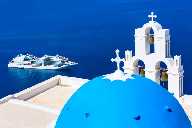 Sea and white church, Santorini, Greece stock photo