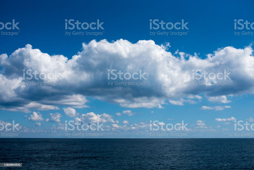 Sea and wonderful clouds. stock photo