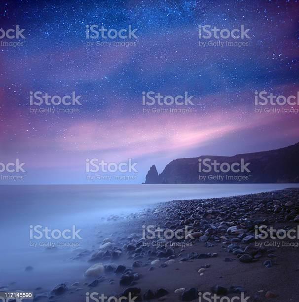 Photo of Sea at night under milky way stars