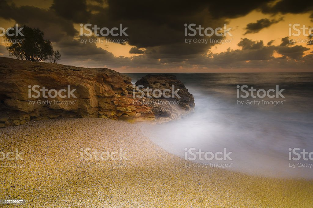 Sea at sunset in crete, greece royalty-free stock photo