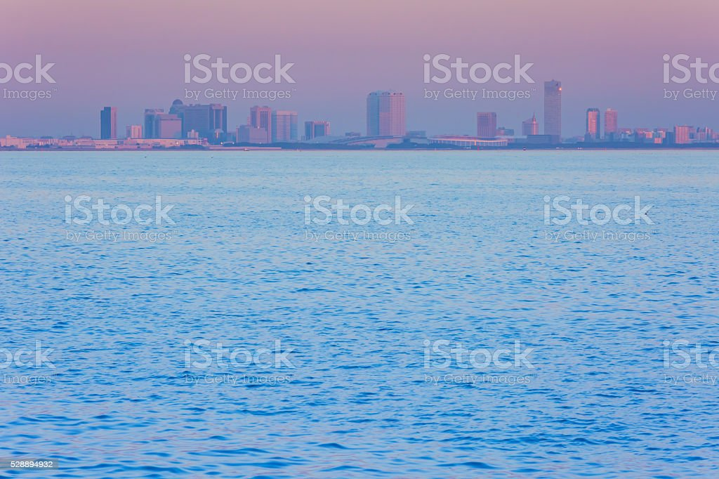 Sea at sunset stock photo