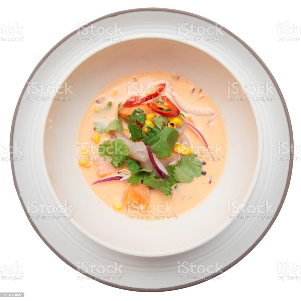 Sea bass ceviche shot from above, isolated on white stock photo