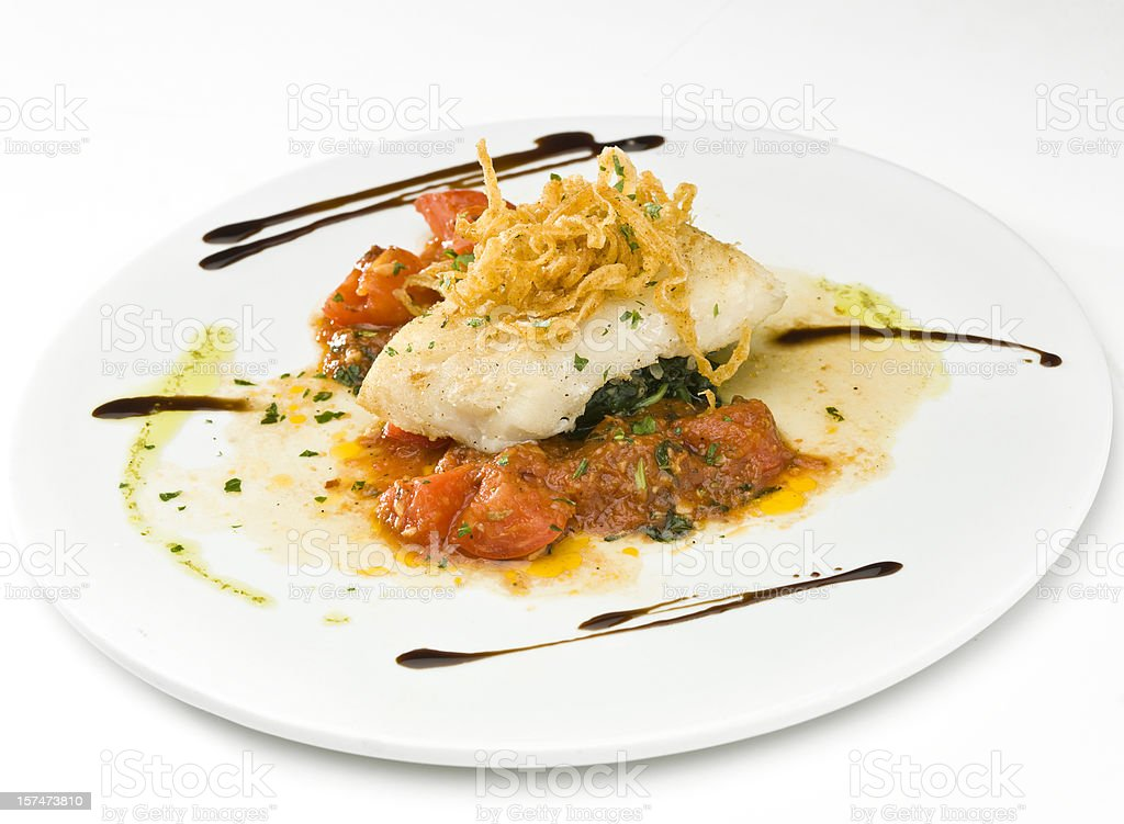 Sea Bass Pomodoro royalty-free stock photo
