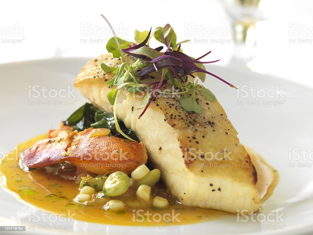Sea Bass with Lobster stock photo