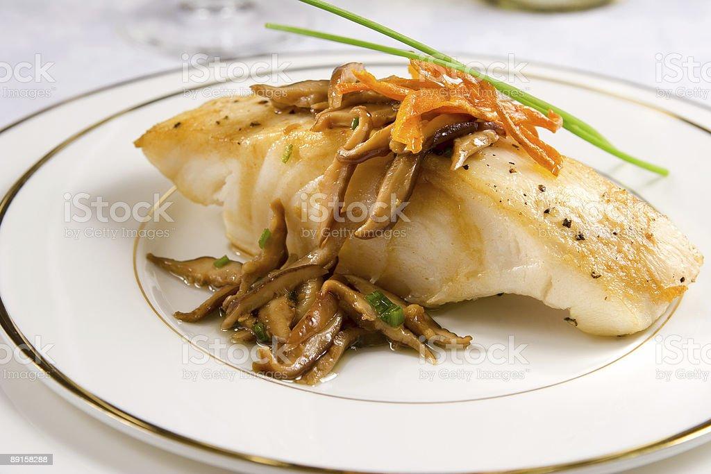 Sea bass with shiitake royalty-free stock photo