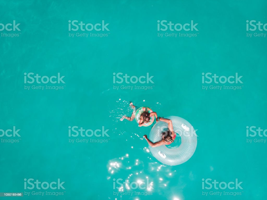 Sea bathing with my family stock photo