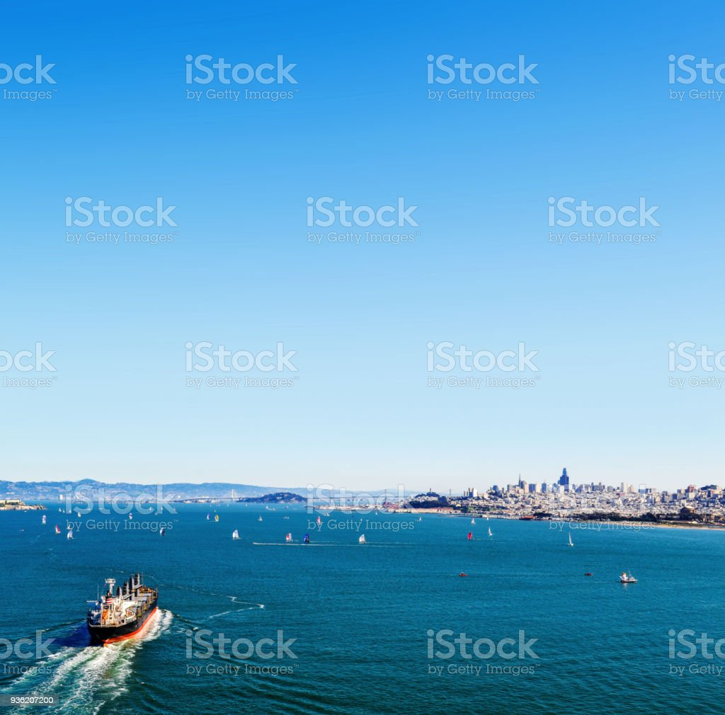 Sea bay, view of the city of San Francisco from the sea. Ships in the sea bay stock photo