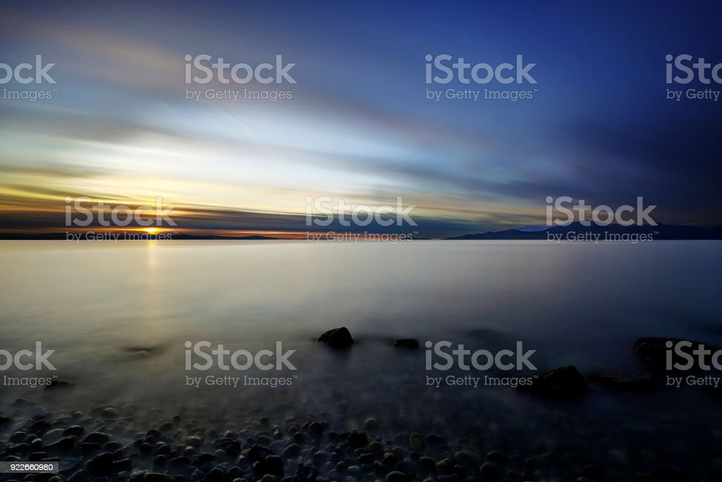 Sea beach at sunset, Vancouver, British Columbia, Canada stock photo