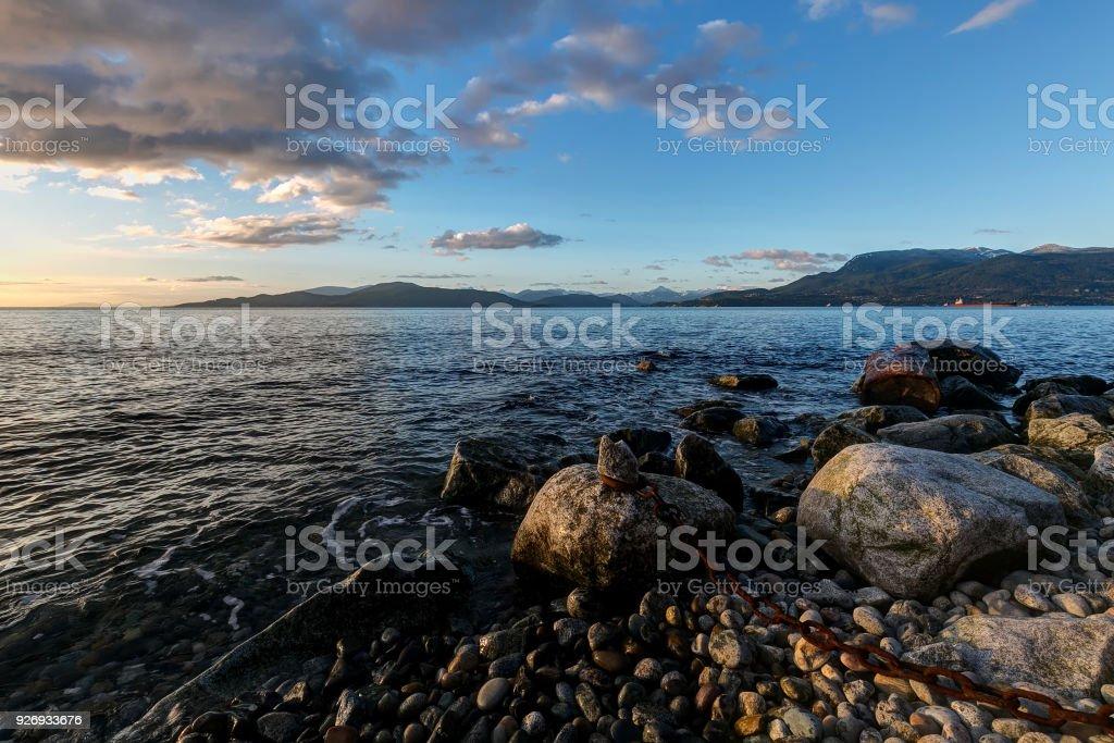 Sea beach at sunset, Vancouver, British Columbia, Canada stock photo