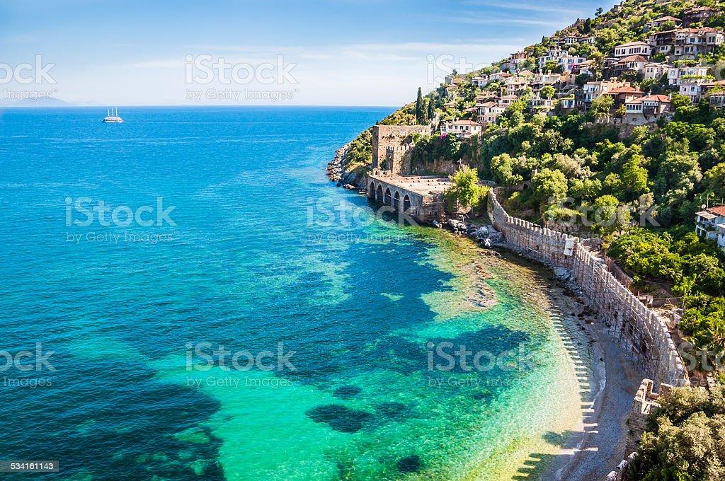 Sea beach in Alanya, Turkey stok fotoğrafı