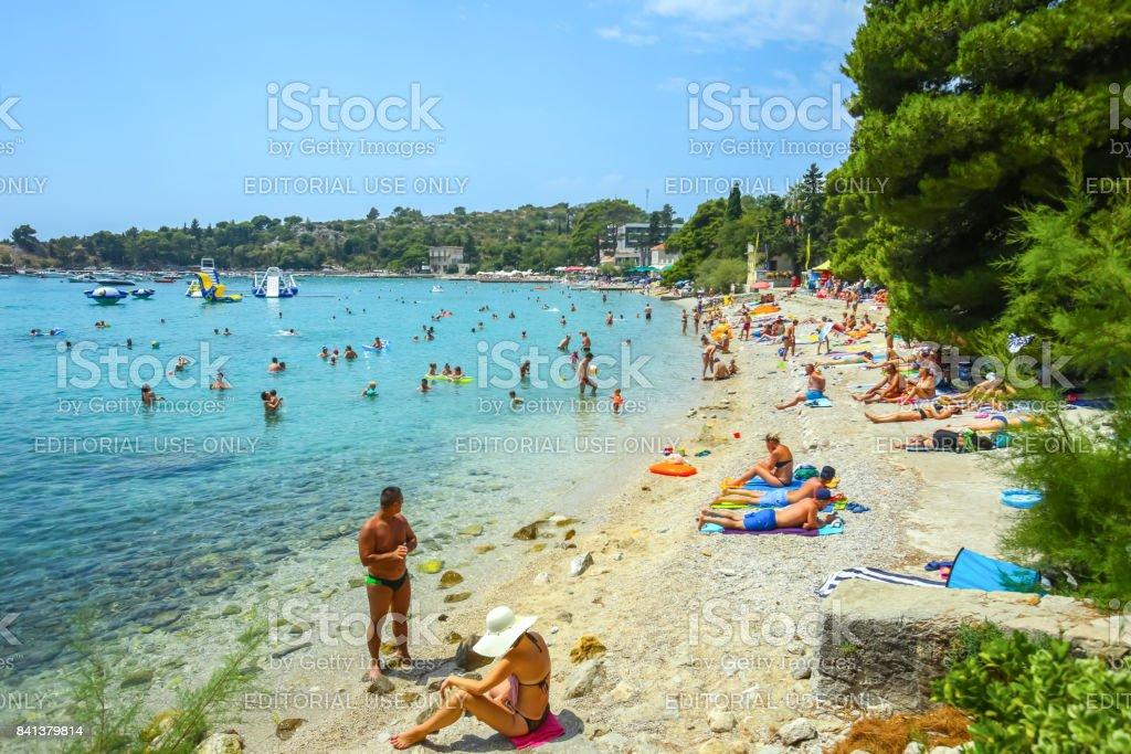 Sea beach in Srebreno stock photo