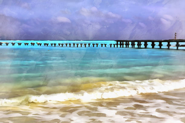 sea beach landscape colorful painting - impressionist painting stock photos and pictures