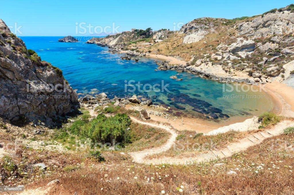 Sea beach near Rocca di San Nicola, Agrigento, Sicily, Italy - foto stock
