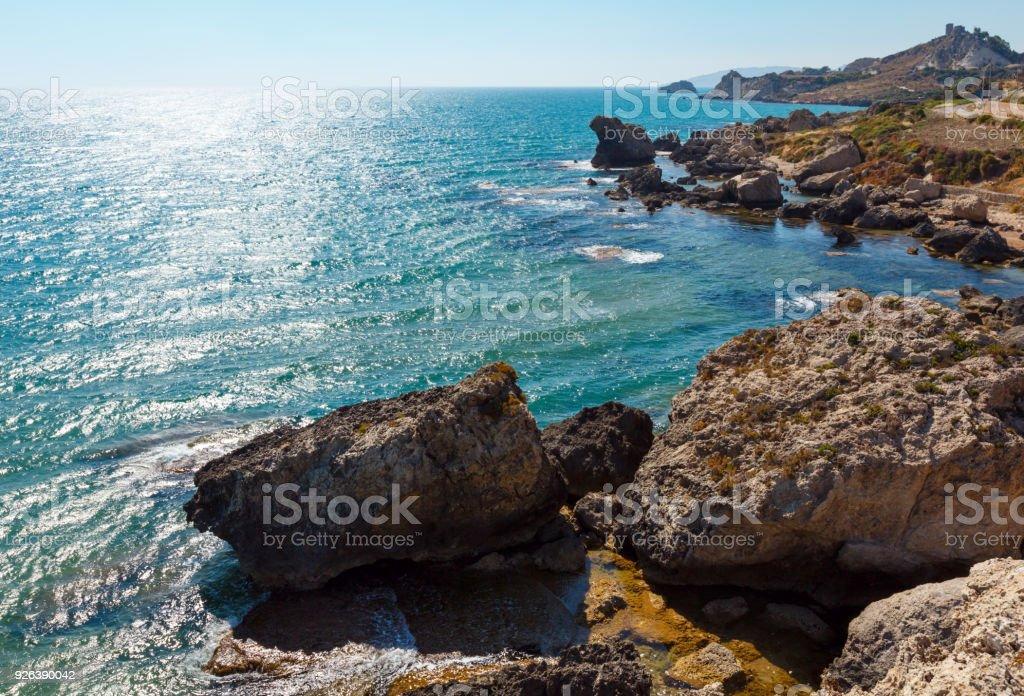 Meer Strand in der Nähe von Rocca di San Nicola, Agrigento, Sizilien, Italien – Foto